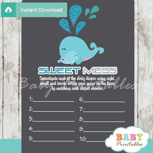 blue whale themed Baby Shower Game What's That Sweet Mess Dirty Diaper Shower Game