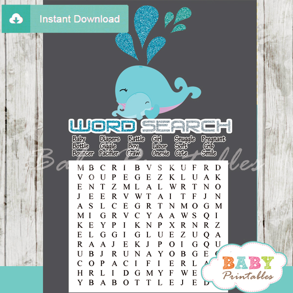 blue whale printable baby shower word search puzzles