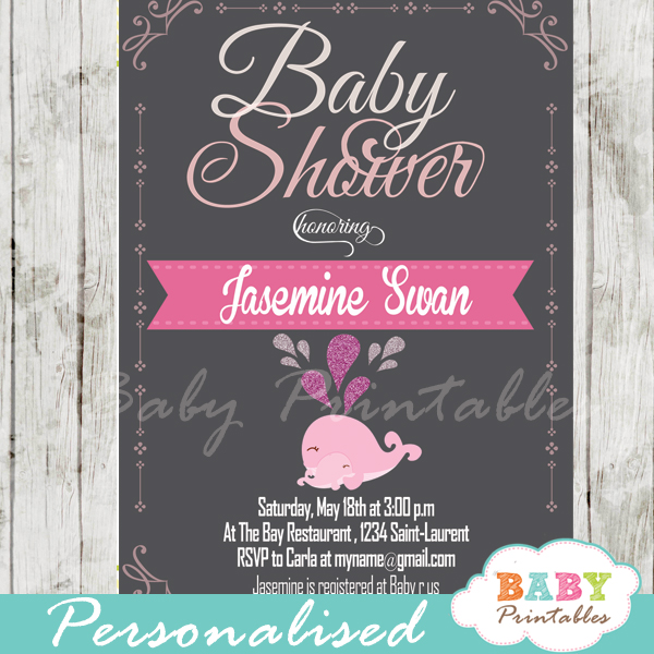 Pink whale baby shower chalkboard invitation girls d182 baby printable cute pink whale baby shower invitations for girls filmwisefo