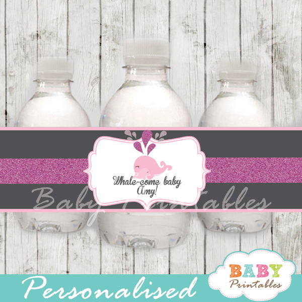 custom pink whale baby shower bottle wrappers diy