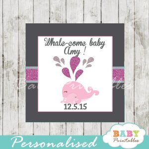 printable custom pink whale baby shower favor tags