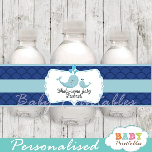 custom navy blue scallop pattern whale baby shower bottle wrappers diy