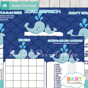 printable blue whale themed baby shower games package