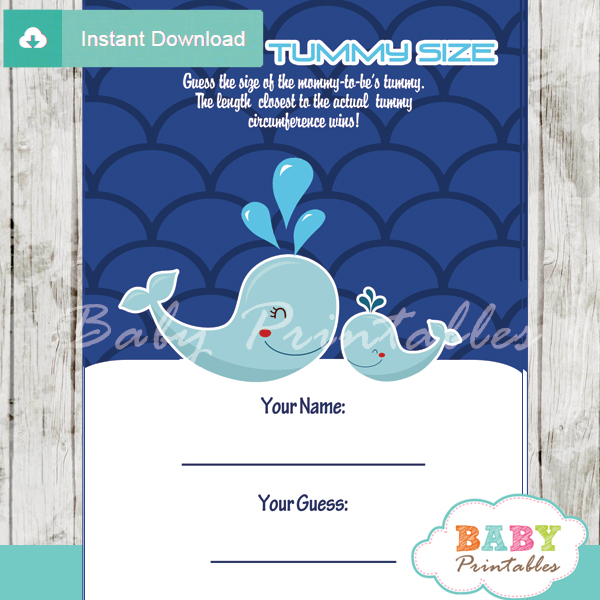 blue whale baby shower scallop pattern games - d183