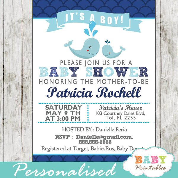 printable navy blue scallop pattern whale baby shower invitations for boys
