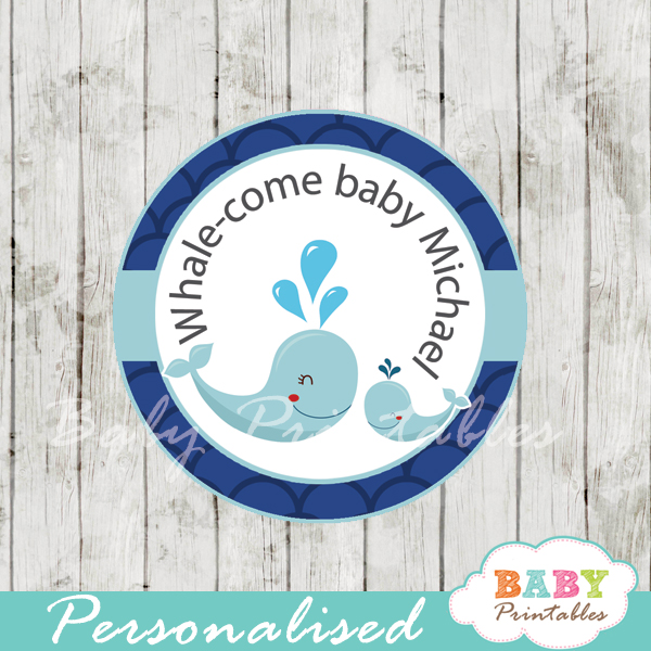 custom navy blue scallop pattern whale baby shower favor labels