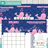 printable pink whale baby shower games package