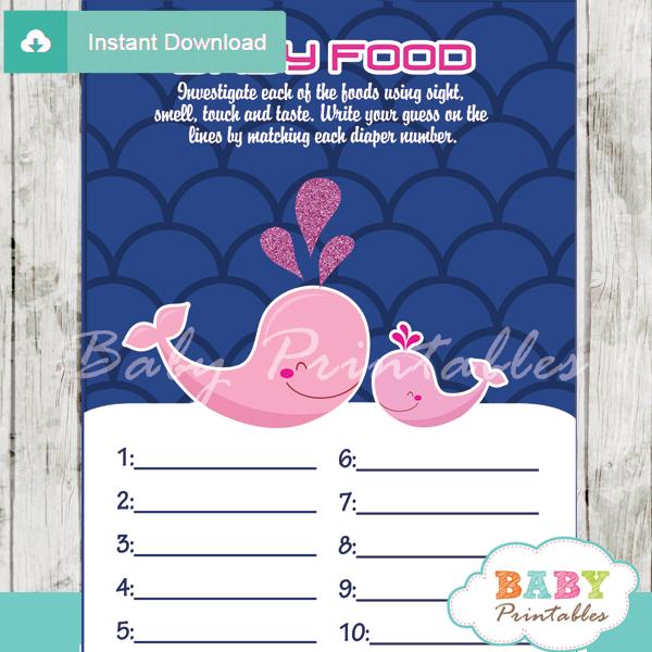 printable whale baby shower games blind tasting baby food