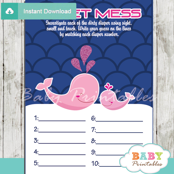 printable whale Baby Shower Game Guess the Sweet Mess Dirty Diaper