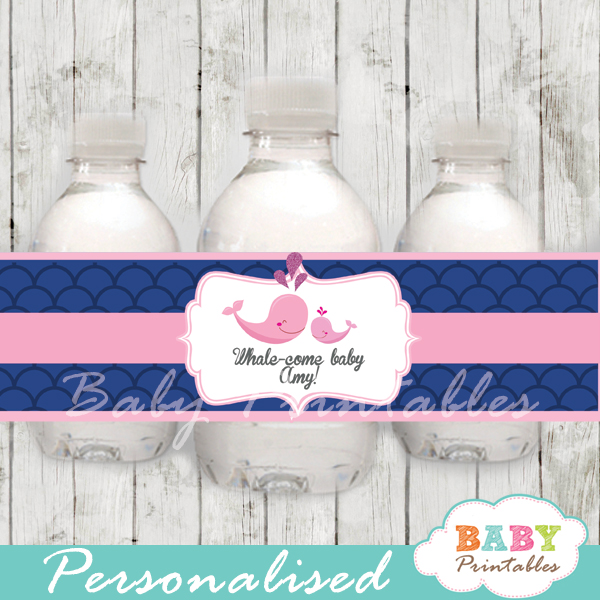 personalized navy blue scallop pattern whale baby shower bottle wrappers diy