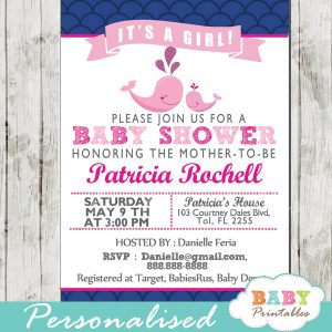 printable navy blue scallop pattern pink whale baby shower invitations for girls