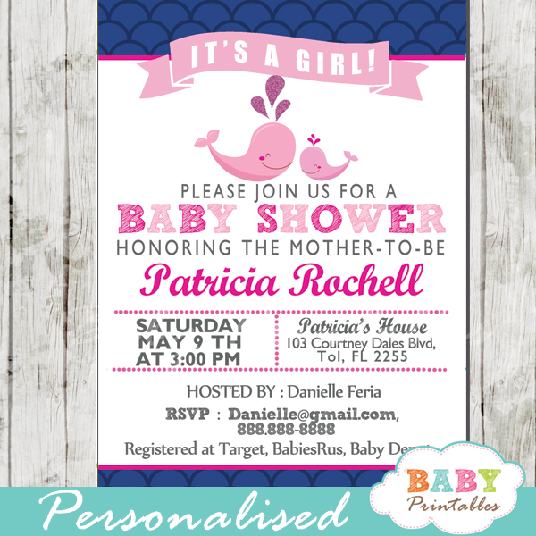 photo about Printable Baby Shower Invitations Girl called Crimson Whale Boy or girl Shower Scallop Habit Invitation Ladies - D184