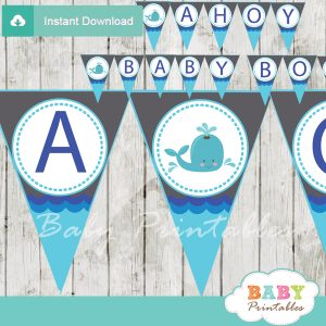 blue and grey printable whale welcome boy baby shower banner decoration personalized