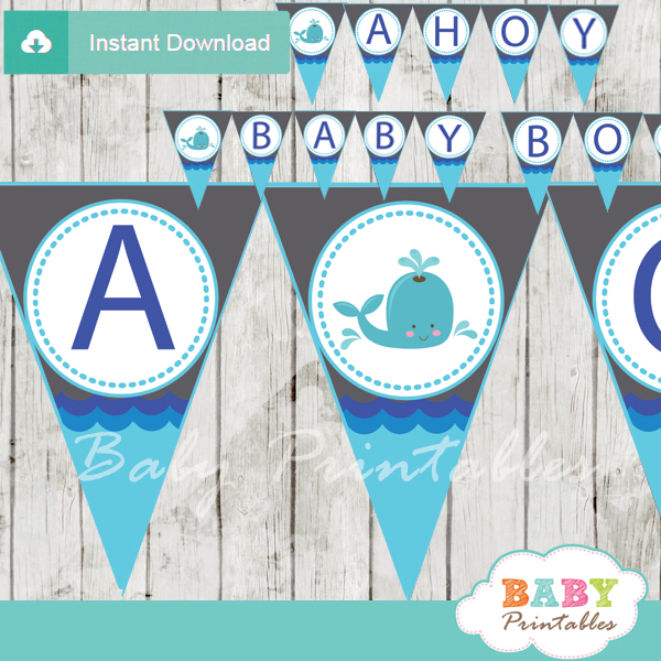 Blue gray whale baby shower banner d185 baby printables for Baby clothesline decoration baby shower