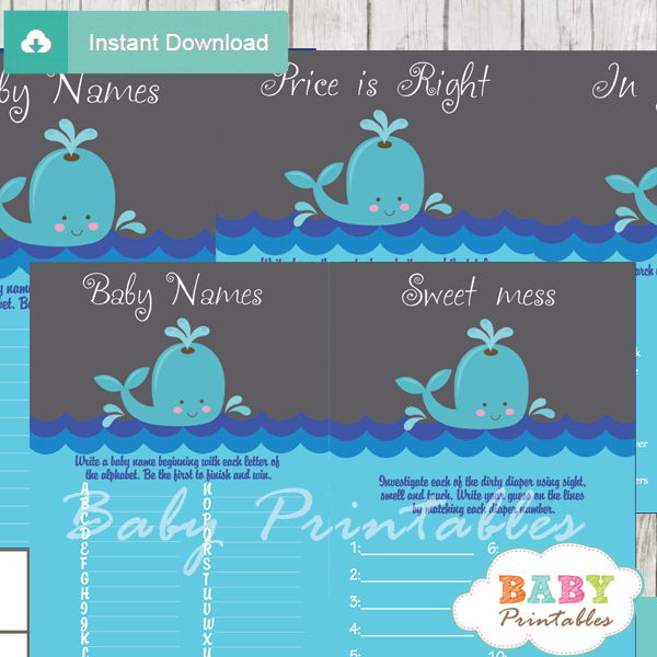 printable whale baby shower fun games ideas