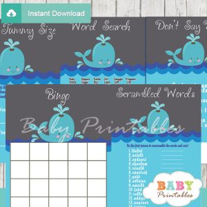 blue and grey printable whale baby shower games package