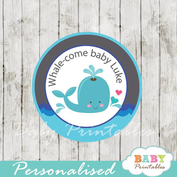 personalized blue grey whale baby shower favor labels