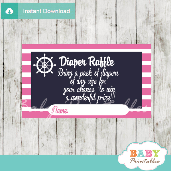 navy and pink printable nautical diaper raffle game cards baby shower