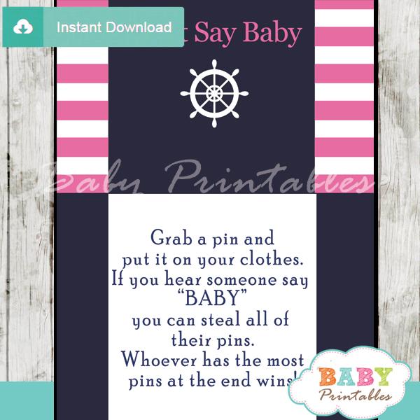 nautical stripes printable game Dont Say Baby pdf