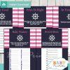 printable nautical stripes baby shower fun games ideas