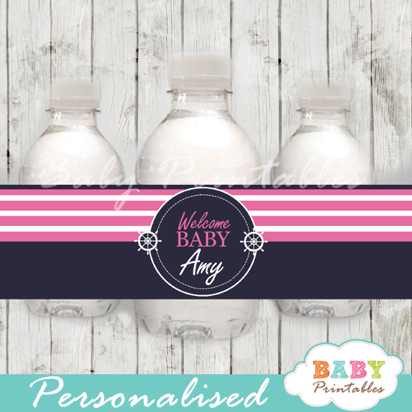 navy and pink personalized nautical baby shower bottle wrappers diy