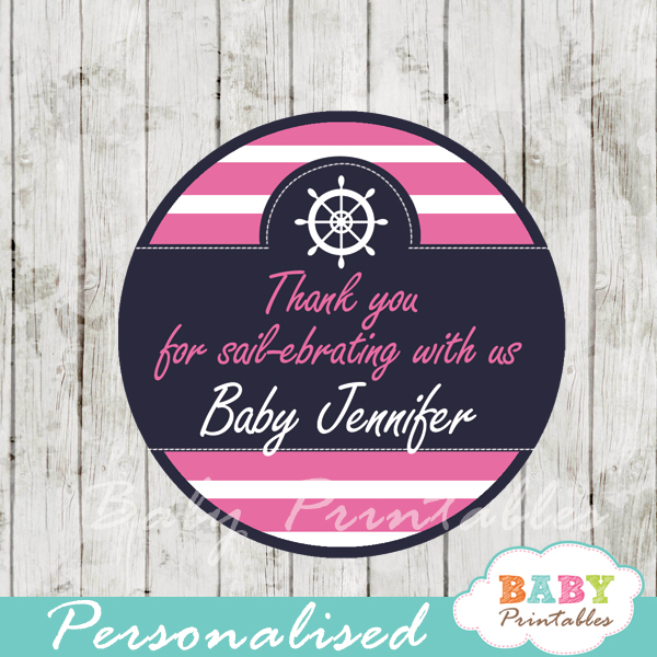 personalized navy and pink nautical baby shower favor labels