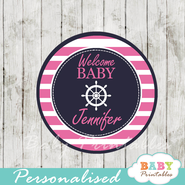 personalized navy and pink nautical baby shower cupcake toppers