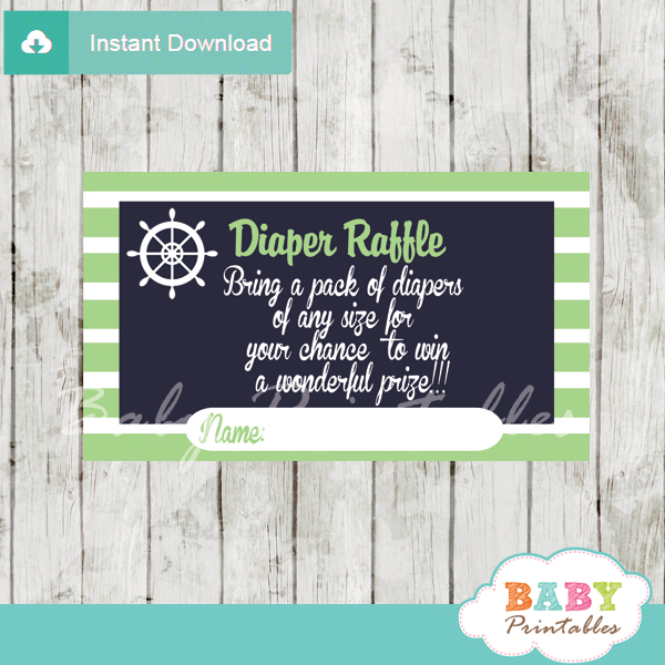 navy and lime green printable nautical diaper raffle game cards baby shower