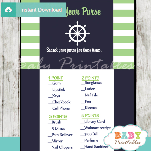 nautical stripes what's in your purse baby shower game printable