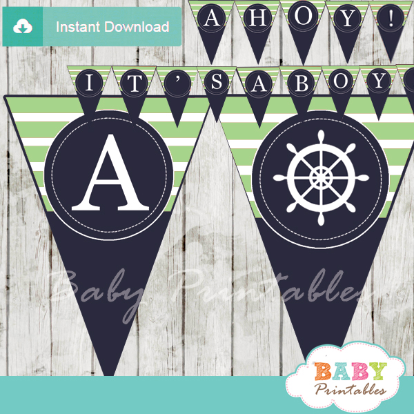 navy and lime green printable nautical stripes ahoy girl baby shower banner decoration personalized