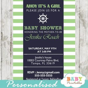 printable navy and green nautical stripes baby shower invitations for girls