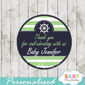 personalized navy and green nautical baby shower favor labels