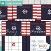 navy and red printable nautical striped baby shower games package