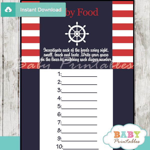 printable nautical stripes baby shower games blind tasting baby food