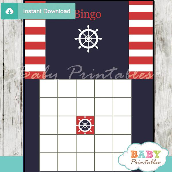 nautical stripes printable baby shower bingo games cards