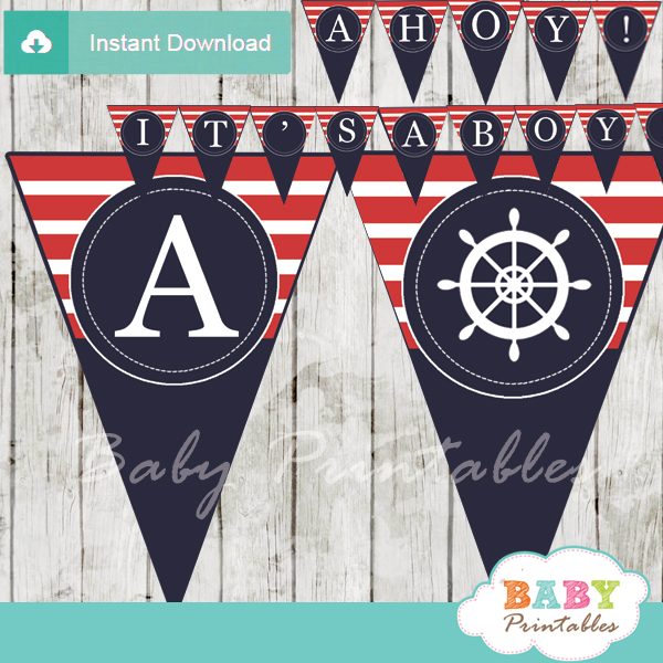 navy and red printable nautical stripes ahoy girl baby shower banner decoration personalized