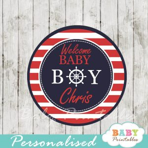 personalized navy and red nautical baby shower cupcake toppers