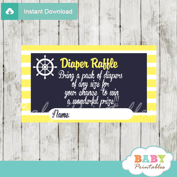 navy and yellow printable nautical diaper raffle game cards baby shower