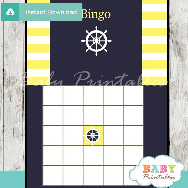 nautical helm printable baby shower bingo games cards
