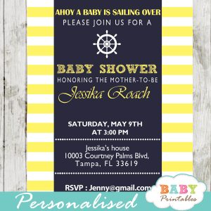 printable navy and yellow nautical helm baby shower invitations gender neutral