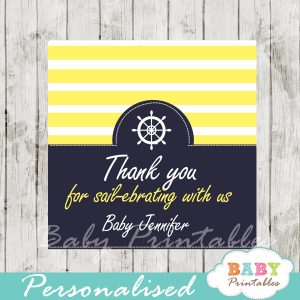 navy and yellow printable custom nautical helm baby shower favor tags
