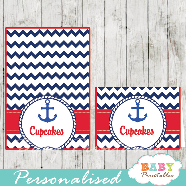 navy and red printable nautical personalized food label cards