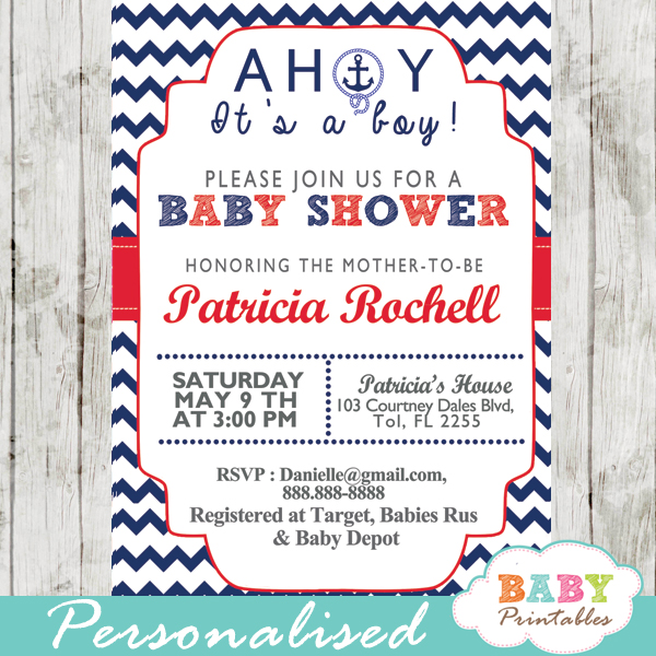 printable ahoy its a boy nautical baby shower invitations
