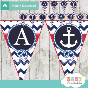 navy and red printable nautical anchor baby shower banner decoration personalized