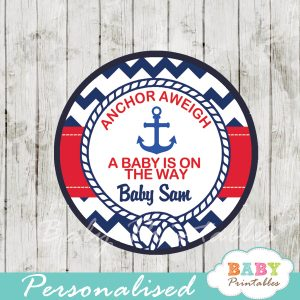 personalized navy and red nautical anchor baby shower favor labels