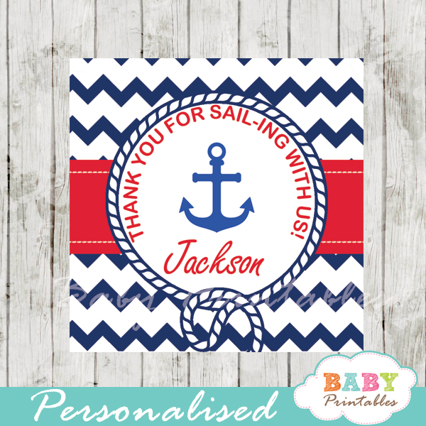 navy and red printable custom nautical helm baby shower favor tags