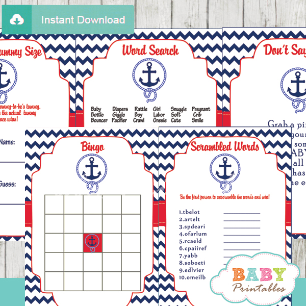 navy blue red nautical anchor printable baby shower games package 2