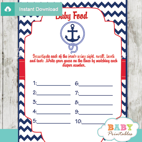 Navy & Red Nautical Anchor Baby Shower Games – D194