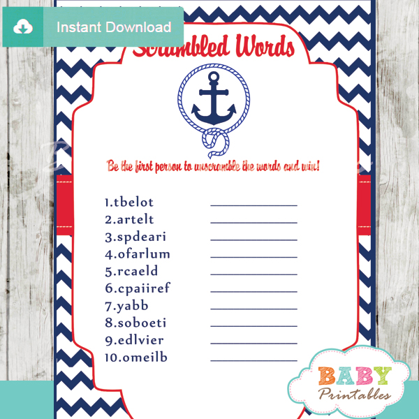 Navy & Red Nautical Anchor Baby Shower Games