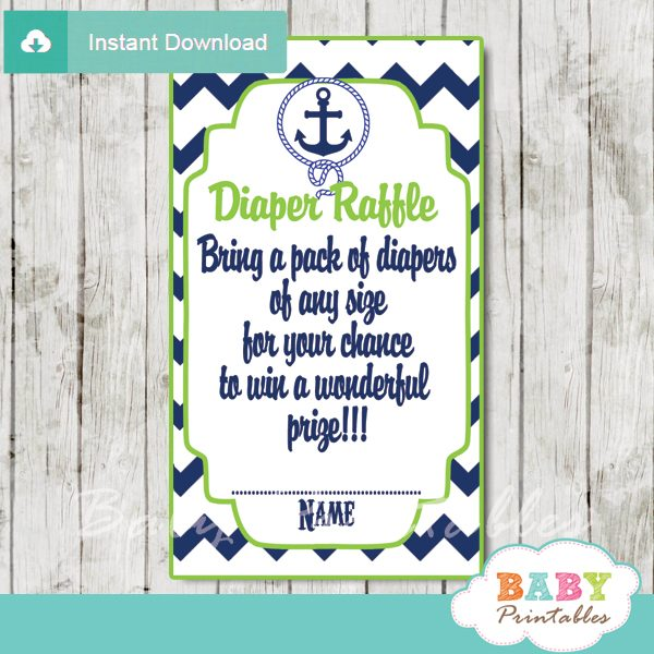 graphic relating to Printable Diaper Raffle Tickets known as Military Eco-friendly Nautical Anchor Boy or girl Shower Diaper Raffle Tickets - D195